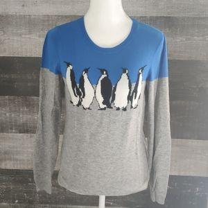 TALBOTS lightweight grey penquin sweater